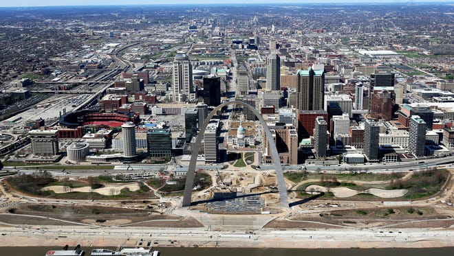 This March 17, 2016, aerial photo shows progress on the renovations of the Arch grounds continues in St. Louis.