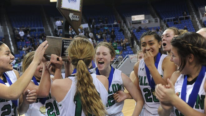 Churchill County (Fallon) defeats Lowry during their 3A NIAA girls basketball championship game at Lawlor Events Center in Reno on Feb. 24, 2018.