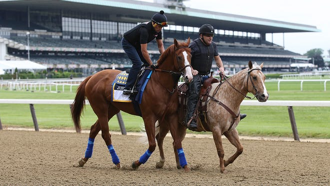 Justify is introduced to the racing surface on Thursday morning at Belmont Park with exercise rider Humberto Gomez aboard and assistant trainer Jimmy Barnes on Sunny.June 7, 2018