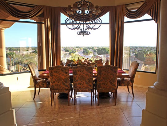 The dining area takes full advantage of the home's