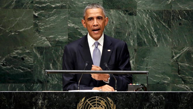President Obama addresses the United Nations General Assembly in 2014.