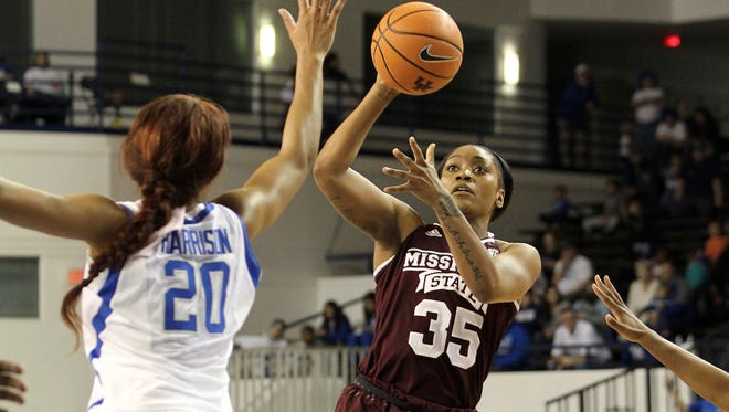 Mississippi State's Victoria Vivians shoots while defended by Kentucky's Dorie Harrison.