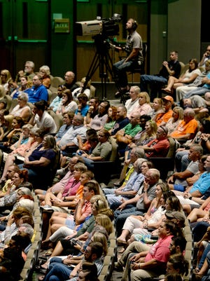 The crowd listens to Pastor of Operations Michael Mullikin speak during NewSpring Leadership Night at the Anderson Campus on Friday.
