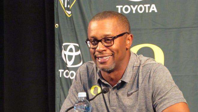 Oregon head coach Willie Taggart speaks at Autzen Stadium in Eugene, Ore., Sunday July 30, 2017.