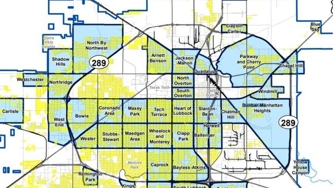 A map showing different neighborhoods in Lubbock.