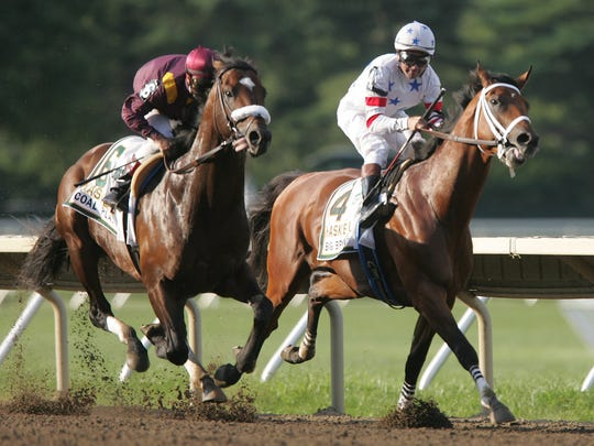 Big Brown with rider Kent Desormeaux (right)  beats Coal Play and rider Joe Bravo in the 2008 Haskell.
