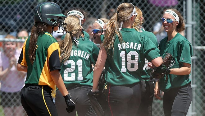 Brewster defeated Lakeland 6-2 in a girls softball semi final playoff game at Brewster High School May 29, 2015. Brewster won the game 6-2.