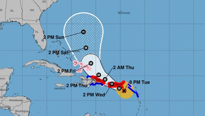 Forecast cone for Hurricane Maria as of 8 p.m. Tuesday, Sept. 19, 2017 advisory.
