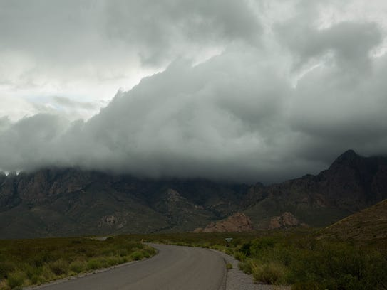 Clouds roll over the Organ Mountains, near the entrance