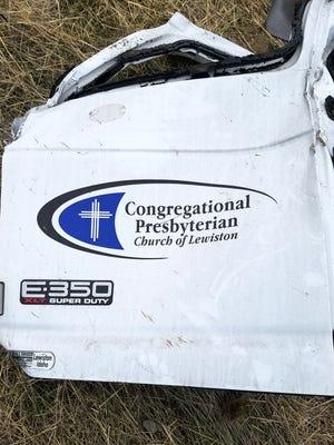Feb. 1, 2018: The driver's door from a Ford F350 crash near Hermiston, Oregon.