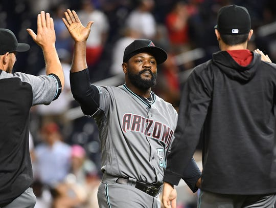 Diamondbacks closer Fernando Rodney celebrates with