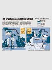 Grand Rapids and Lansing winners in job density