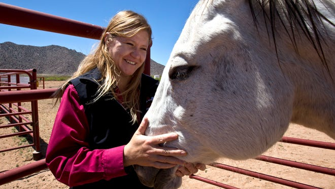 Marcy Ward, Extension Livestock Specialist, at the Chihuahuan Desert Rangeland Research Center.