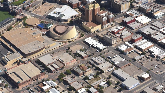 An aerial view shows the Duranguito neighborhood that is in the footprint of the proposed Downtown arena.