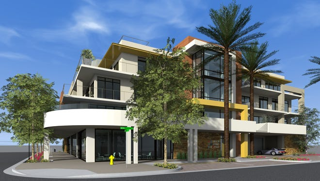 Main Street Place is planned as a four-story mixed-use building with 11 residential units and common space above a first-floor coffee shop and restaurant at the northeastern corner of Main and 75th streets, east of Scottsdale's downtown library, amphitheater and government offices.