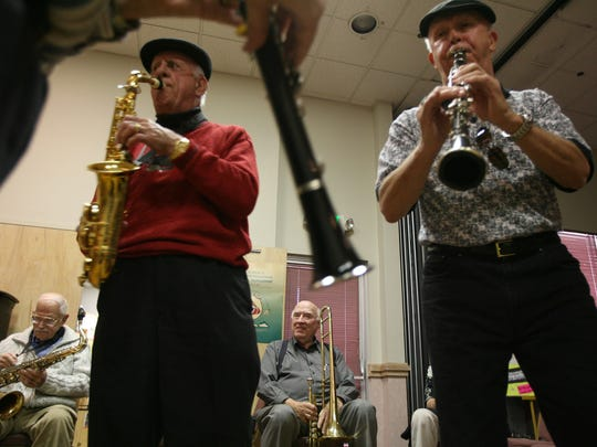 Chuck Windham, left, 85, Charlie Bulanti, 83, Bob Caldwell, 72, and Don Dupree 71, participate during the jazz jam session at the Mizell Senior Center in Palm Springs on Wednesday, Jan. 31, 2007.