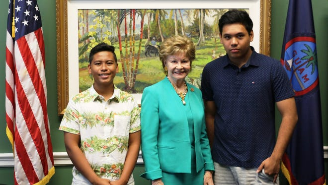 Guam Delegate Madeleine Bordallo met with Juan San Nicolas and Lazaro Quinata, who placed third nationally in the Senior Group Documentary category at National History Day in Washington, D.C.