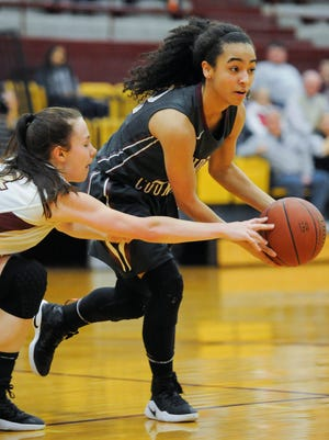 Webster County's Jamie Winstead (14) attempts to steal the ball from Henderson County's Breanna Chester (23) during the District 6 championship game at Webster County High School in Dixon, Wednesday, Feb. 22, 2017. Webster County beat Henderson County 53-48.