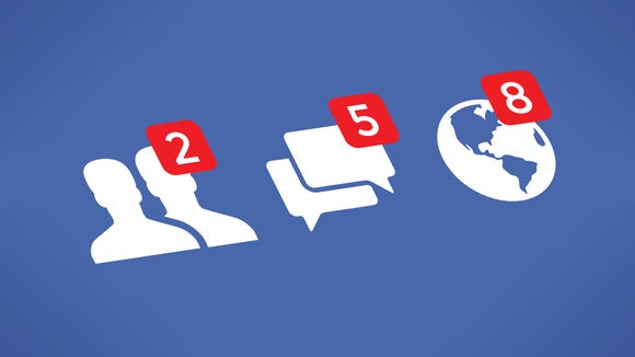 Social network notifications icons - Friends, Messages (Chats, Comments) and Notifications