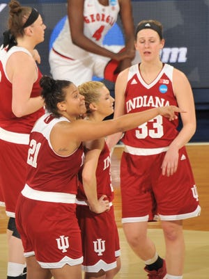 Mar 19, 2016; Notre Dame, IN, USA; Indiana Hoosiers players Karlee McBride (21) and Tra Buss (3) react during the game against the Georgia Bulldogs in the first round of the 2016 women's NCAA Tournament at Edmund P. Joyce Center. Mandatory Credit: Joe Raymond-USA TODAY Sports