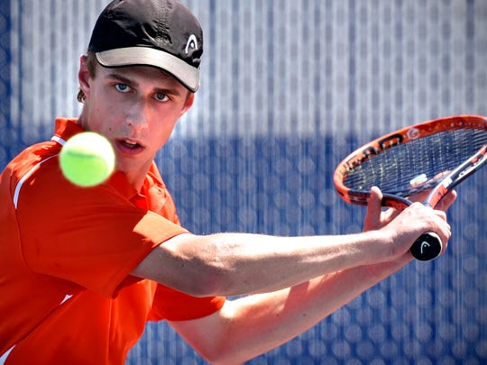 Tech's Eric Inderieden concentrates on the ball during the Friday, May 26, match against Brainerd at Apollo High School in St. Cloud.