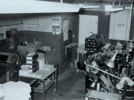 The interior of North End Press in the 311 N. Broad St. building. The business moved to this address in 1933 and then also occupied 315 and 317 N. Broad St. by 1966, at which time it moved to a larger space on North Columbus Street.