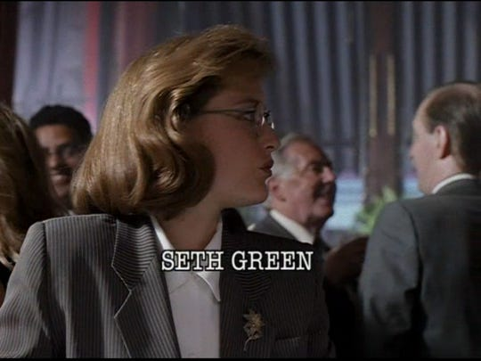 """Gillian Anderson  in the original 4x3 version of """"Deep Throat,"""" the second episode of """"The X-Files."""""""