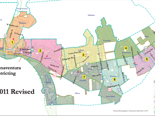 Ventura's just-implemented City Council districts.