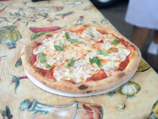 Wood brick oven pizza from Sanducci's in River Edge.