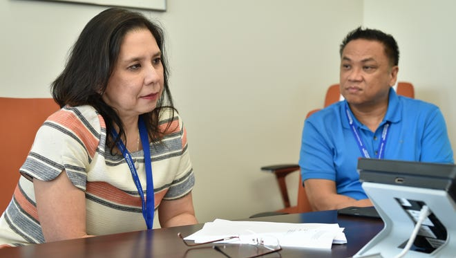 Margaret Bengzon, chief executive officer at Guam Regional Medical City, left, announces the hospital's recent accreditation with The Joint Commission at GRMC on Jan 12, 2016. The accreditation will enable GRMC to treat patients with Medicare and Medicaid, according to Bengzon.