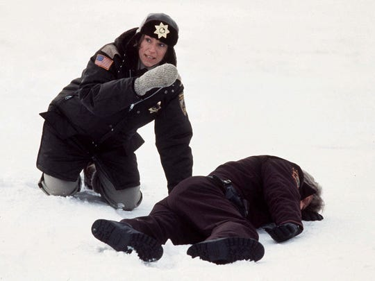 "Frances McDormand (left) is shown in this scene from the movie ""Fargo."""