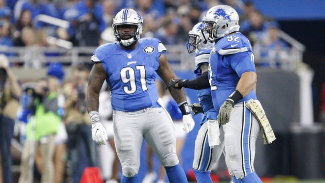 Detroit Lions defensive tackle A'Shawn Robinson (91) reacts after a play against the Jacksonville Jaguars on Nov. 20, 2016, at Ford Field.