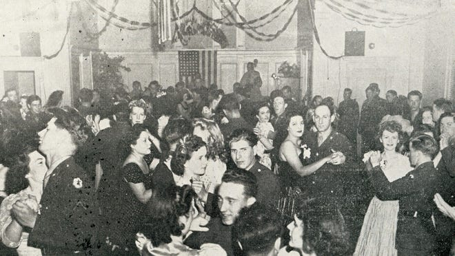 Dancing was a huge part of the USO's draw. Here is a dance in the Main Recreation Room of the Salem, U.S.O. on Chemeketa Street. Published in Oregon Magazine, October 1944.
