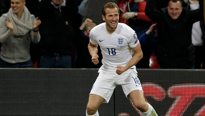 England's Harry Kane, celebrates his goal during the Euro 2016 Group E qualifying soccer match between England and Lithuania at Wembley Stadium in London, Friday, March 27, 2015.