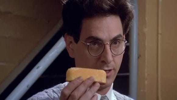 "Harold Ramis, as Egon Spenger Egon Spengler in ""Ghostbusters,"" explains the 600-pound psychokinetic Twinkie."