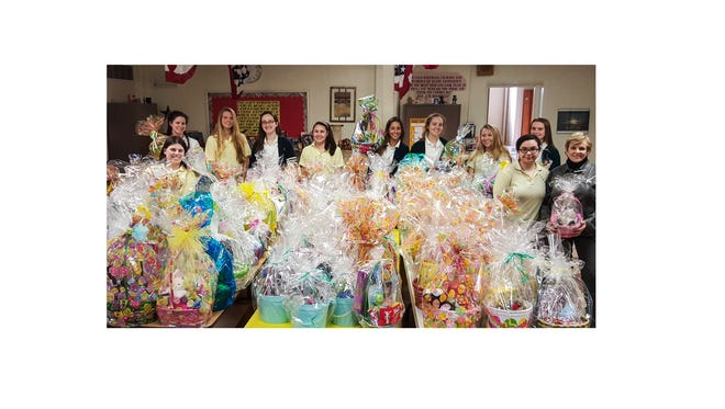 Members of the Service Club at Our Lady of Mercy Academy in Newfield filled more than 150 Easter Baskets for area children served by Code Blue in Bridgeton and Big Brothers Big Sisters in Cumberland County.