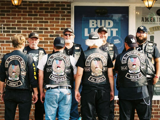 Four branches of the Armed Services are represented at a previous U.S. Military Vets Motorcycle Club Crossbones chapter Poker Run.