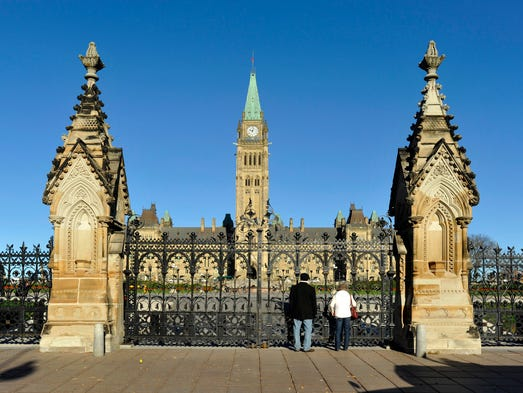 The gates to parliament hill are closed to the public in canada s