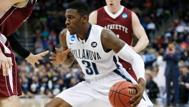 Villanova's Dylan Ennis (31) plays against Lafayette during the second half of an NCAA tournament second round college basketball game, Thursday, March 19, 2015, in Pittsburgh. (AP Photo/Gene J. Puskar)