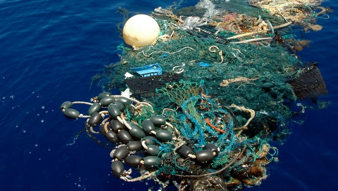 A patch of garbage in the Pacific Ocean on Aug. 11, 2009.