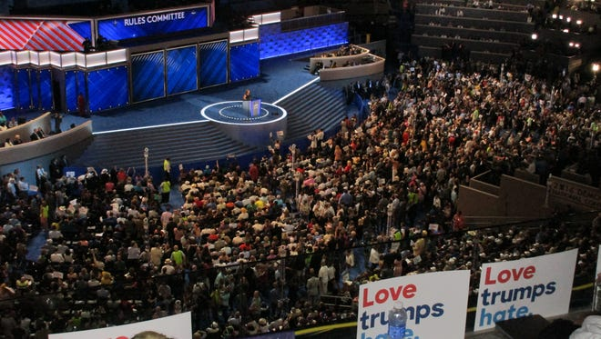 Inside the convention hall at the DNC.