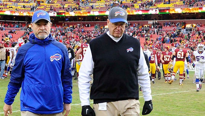 Buffalo Bills head coach Rex Ryan walks off the field after the game against the Washington Redskins at FedEx Field.