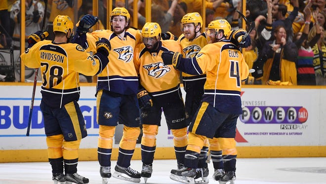 The Predators celebrate Nashville Predators defenseman P.K. Subban (76) score during the third period of game four of the Western Conference finals at Bridgestone Arena Thursday, May 18, 2017 in Nashville, Tenn.