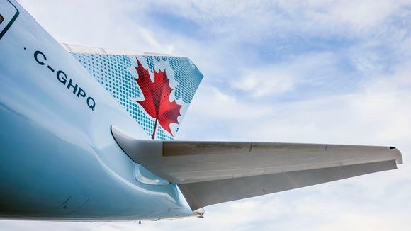 This undated file photo shows the tail of an Air Canada