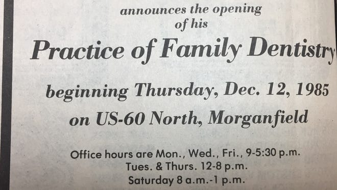 A December 1985 advertisement to announce the opening of Dr. Darrell R. French's Family Dentistry Practice.
