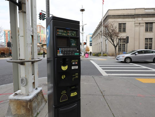 A Parkeon munimeter is pictured on Main Street in Yonkers,