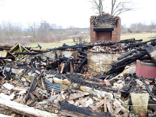 A cabin burned to the ground during a fire at Conococheague