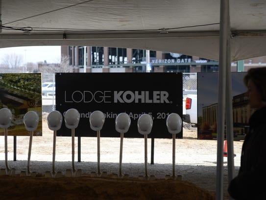 Shovels and hard hats lined up for the Lodge Kohler
