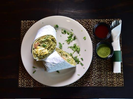 Biryani burrito with palak and tofu at Mausam Express,