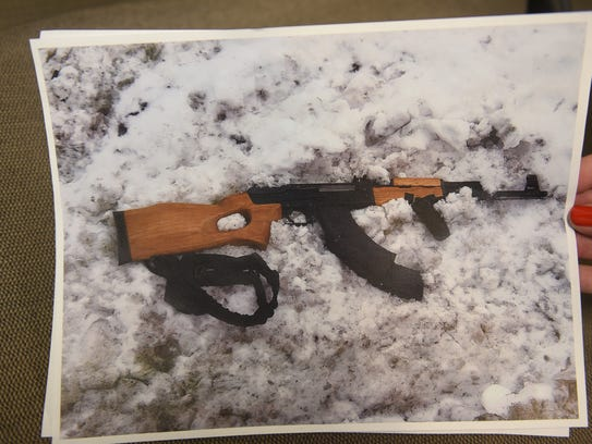 Oakland County Sheriff Mike Bouchard shows the weapon